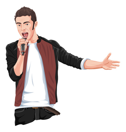 vocalist: Vector illustration of rockstar singing in mike.