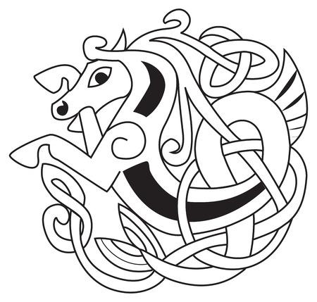 Cavallo celtico - Simbolo unicorno. Grande per tatuaggio o opere d'arte Archivio Fotografico - 38577134