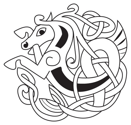 Celtic horse - unicorn Symbol. Great for tattoo or artwork