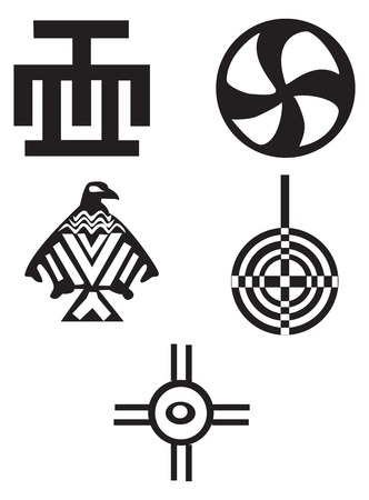 Five different native American and african symbols - Indians
