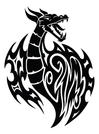 dragon tattoo design: Dragon tattoo design, vintage engraved illustration.