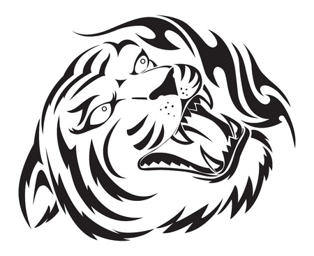 Roaring tiger tattoo design, vintage engraved illustration.
