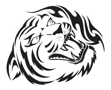 black tiger: Roaring tiger tattoo design, vintage engraved illustration.