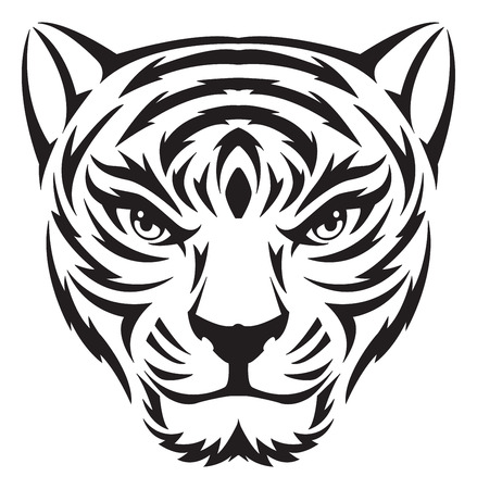 Tiger face tattoo design, vintage engraved illustration.