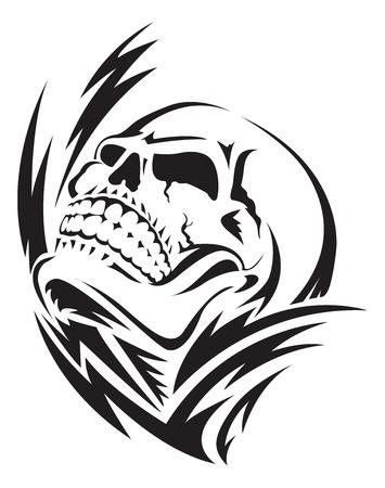 人間の頭蓋骨の入れ墨のデザイン、ヴィンテージの刻まれた図。  イラスト・ベクター素材