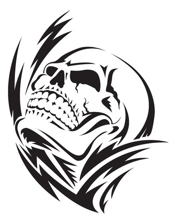 Human skull tattoo design, vintage engraved illustration. 矢量图像