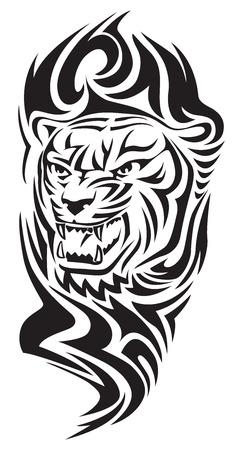 咆哮するトラのタトゥー デザイン、ヴィンテージの刻まれたイラスト。