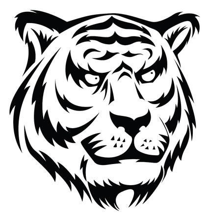 tattoo face: Tiger face tattoo design, vintage engraved illustration.