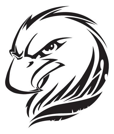 halcones: Diseño de la cabeza tatuaje Eagle, cosecha ilustración grabada.