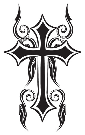 cross: Tattoo design of christian cross, vintage engraved illustration.