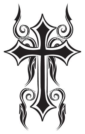 Tattoo design of christian cross, vintage engraved illustration.