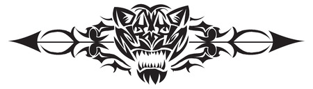 Tattoo design of wild cat head and arrow mark, vintage engraved illustration.