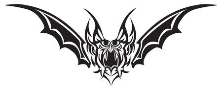 representations: Tattoo design of bat monster, vintage engraved illustration.