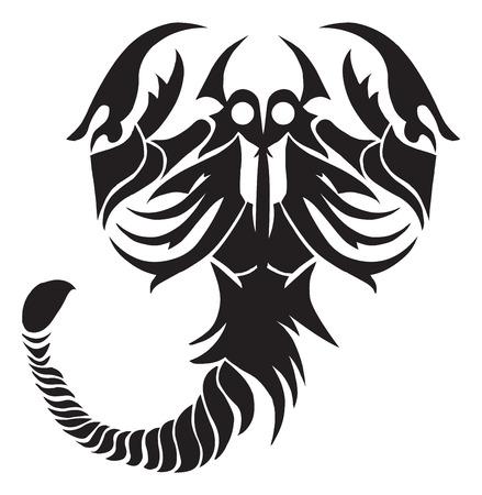 Tattoo design of scorpion, vintage engraved illustration.