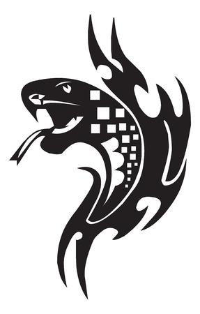Tattoo design of snake, vintage engraved illustration. Иллюстрация