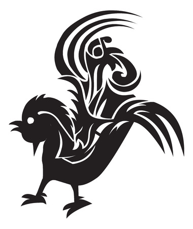 Tattoo design of cock, vintage engraved illustration. Vector