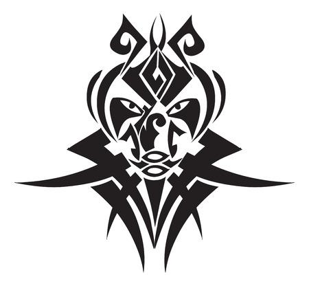tattoo face: Tribal tattoo design, vintage engraved illustration.
