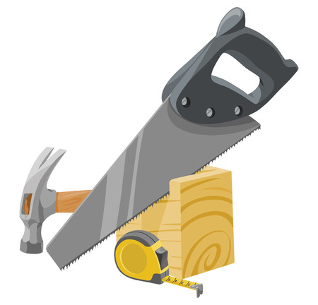 Vector illustration of hammer, tape measure, saw and wood.