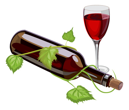 Illustration of red wine bottle and glass.