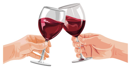Illustration of hands toasting wine glasses. 矢量图像