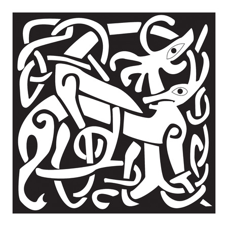 artistry: A illustration of a Celtic animal with a beautiful design, isolated on white . Great for tattoo or artwork.