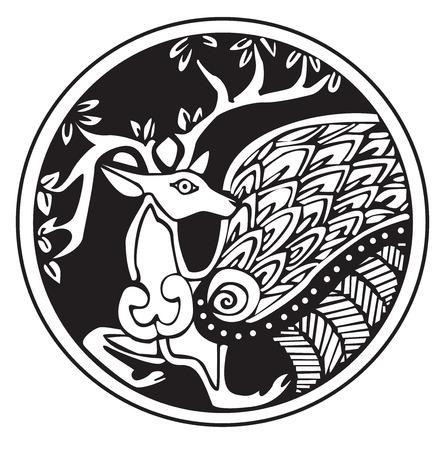 白に対する隔離、円パターンのアートワークの鹿のドルイド天文記号  イラスト・ベクター素材