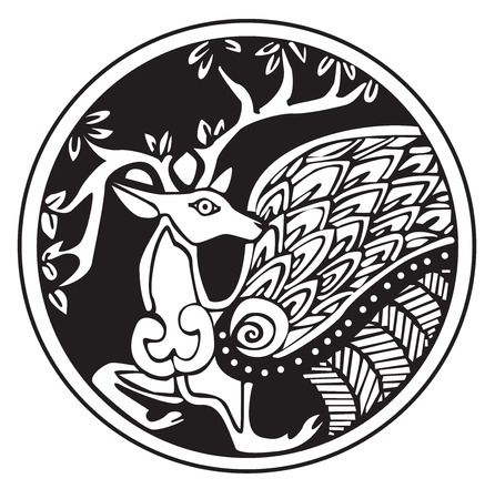 A druidic astronomical symbol of a deer, in a circle pattern artwork, isolated against a white