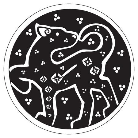 パンサーや白い背景に対して分離されたサークル パターンのアートワークで、山猫のドルイド天文記号  イラスト・ベクター素材