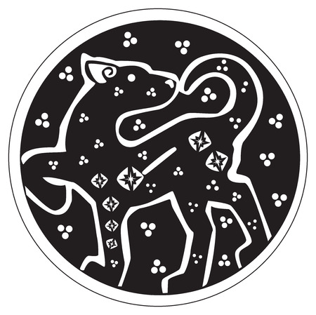 wildcat: A druidic astronomical symbol of a panther or wildcat, in a circle pattern artwork, isolated against a white background Illustration