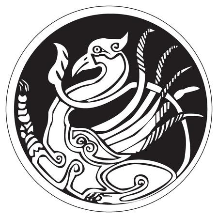 白い背景に対して隔離される、円パターンのアートワーク中のフェニックス鳥のドルイド天文記号  イラスト・ベクター素材