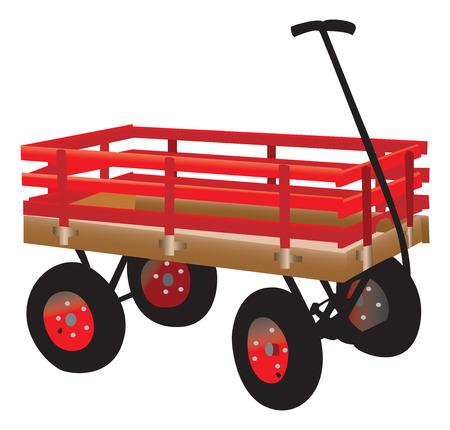hand cart: Bright red kids hand truck