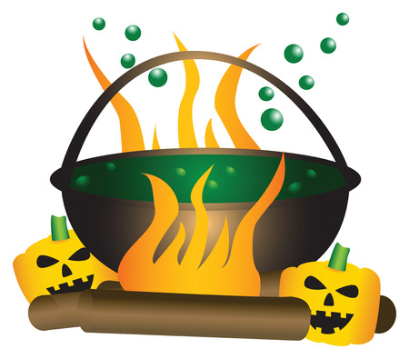 substances: Halloween theme. Boiling witch cauldron with green substance in it, with a large fire and pumpkins underneath.