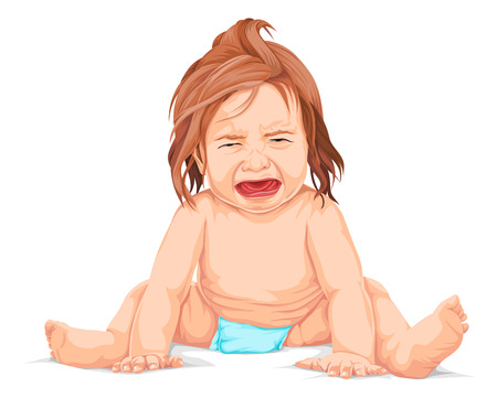 nude girl sitting: Vector illustration of baby screaming in pain or crying.
