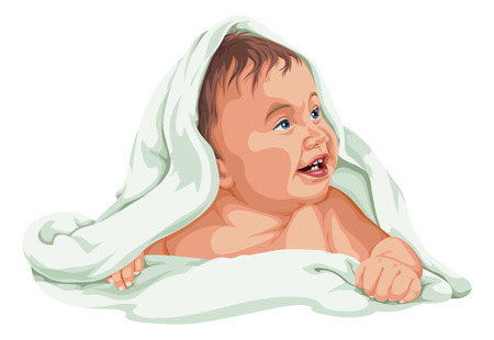 human representation: Vector illustration of cute baby boy covered with towel.