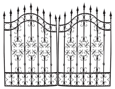 vectorized: Highly detail vectorized iron gate, black