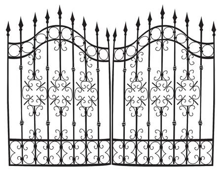 Zeer gedetailleerde vector ijzeren poort, zwart