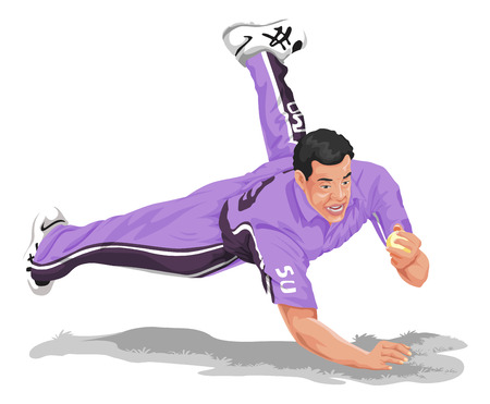 cricket game: Vector illustration of cricket fielder diving and taking catch.