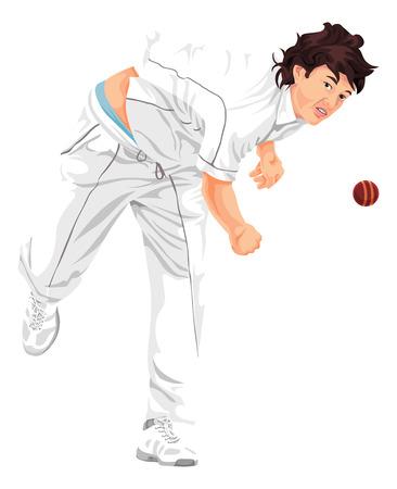 cricket sport: Vector illustration of cricket bowler propelling the ball.