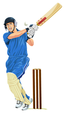 padding: Vector illustration of cricket batsmen playing shot. Illustration