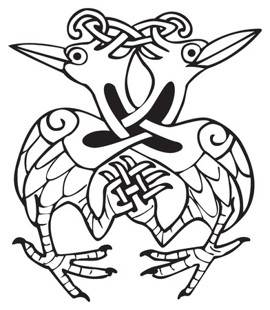 Celtic design of two doves, with knotted lines and pattern. Great for artwork or tattoo Illustration