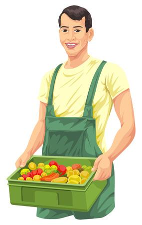 harvest basket: Illustration of farmer with fresh vegetables in basket. Illustration