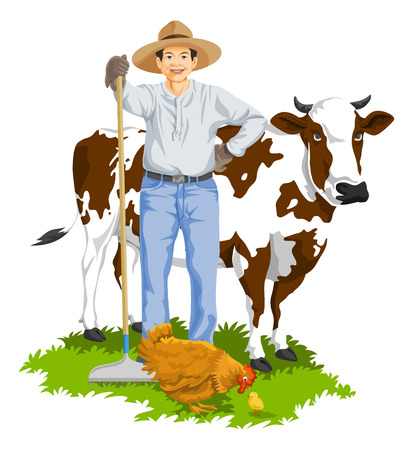 Illustration of farmer with hen and cow at farm. Çizim