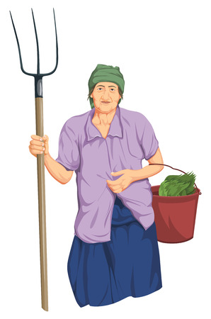 Illustration of woman holding shovel and bucket of vegetable in hands.