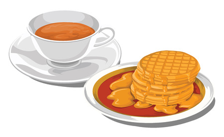 Illustration of teacup with caramelized pancakes for breakfast. Ilustrace