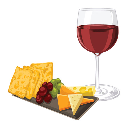 Illustration of red wineglass with cheese, cookie and grapes on tray.