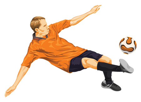 Illustration of soccer player trying to kick the ball.