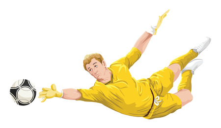 outstretched: Illustration of goalkeeper trying to catch the ball.
