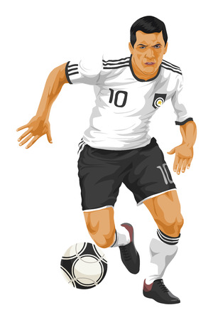 football jersey: Illustration of soccer player kicking the ball.