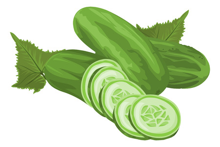 Illustration of whole and sliced cucumber.
