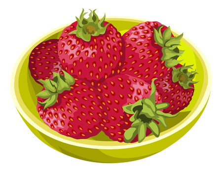 Illustration of fresh strawberries in bowl.